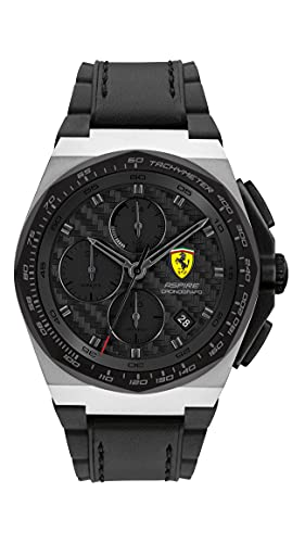 Ferrari Men's Stainless Steel Quartz Watch with Leather and Silicone Strap, Black, 18 (Model: 0830868)