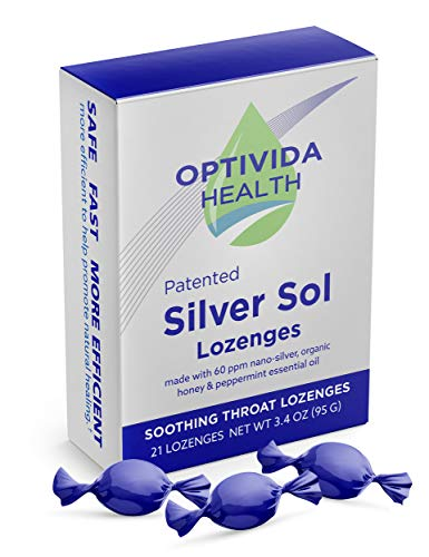 Optivida Health — Nano-Silver Sol Lozenges 60PPM — Fast-Acting Cough Drops with Lemon Oil, Organic Honey and Organic Peppermint Oil for Immune Support — 21 Individually Wrapped Pieces