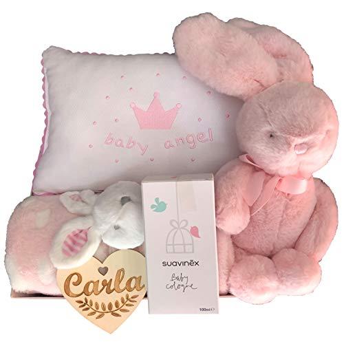 Canastilla bebé niña recién nacido con corazón personalizado, cojín baby ángel, mantita con peluche, conejito dulce y colonia Suavinex.