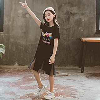 Girls Skirt Round Neck Short Sleeve Simple Casual Loose Straight Mesh Stitching Printed Dress High Quality (Color : Black,...