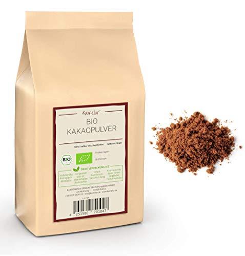 1kg de poudre de cacao biologique à base des meilleures fèves de cacao - aliment cru - 100% de cacao pur, poudre de cacao BIO fortement déshuilée (11% de matière grasse) - emballages écologiques