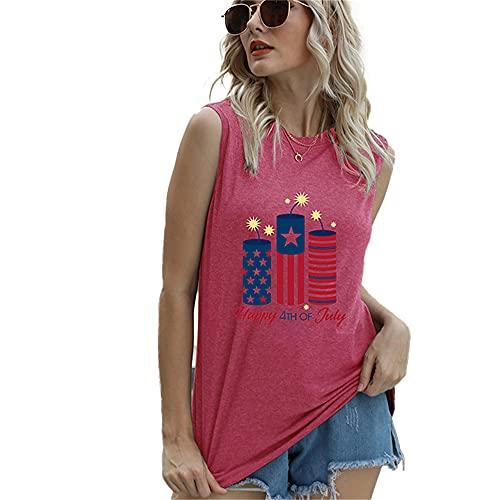 Mayntop Camiseta de manga corta para mujer con diseño de bandera de Estados Unidos con texto en inglés 'God Bless' para el 4 de julio, C-rosa rojo, 36