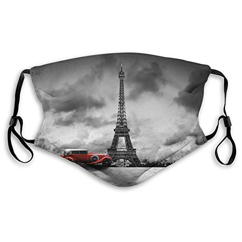 Comfortable Printed mask,Eiffel Tower, Image of Eiffel Tower Paris France Vintage Car Street Dark Clouds, Printed Grey Black Red,Windproof Facial decorations for Teens Size:S