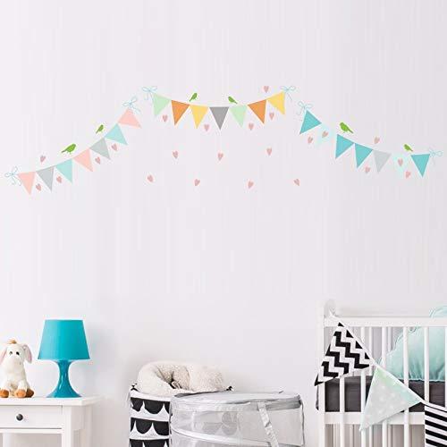 ZYLBL Pegatinas de pared para cumpleaños, día festivo, decoración de pared, diseño de banderín, 2 unidades