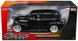 Jada 98880 1939 Chevrolet Master Deluxe Black with baby Moon Wheels Showroom Floor 1/24 Diecast Model Car