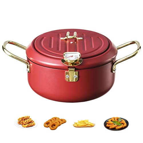 Tempura Fry Pot, Tempura Deep Fryer with Thermometer and Lid, Kitchen Deep Fryer Pan - 8 Inch (Red)