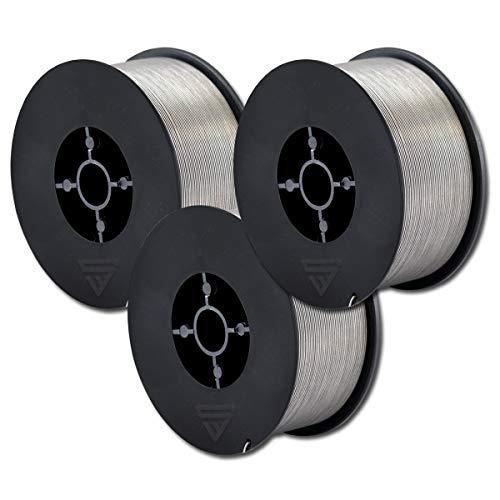 STAHLWERK MIG/MAG Premium Fülldraht Ø 0,8 mm, FLUX Schweißdraht E71T-GS, auf 1kg D100 Rolle mit 16mm Dorn, universell einsetzbar 3er Set