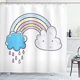 ABAKUHAUS Regenbogen Duschvorhang, Raining Wolken Cartoon, Seife Bakterie Schimmel & Wasser Resistent inkl. 12 Haken & Farbfest, 175x180 cm, weiß Multicolor
