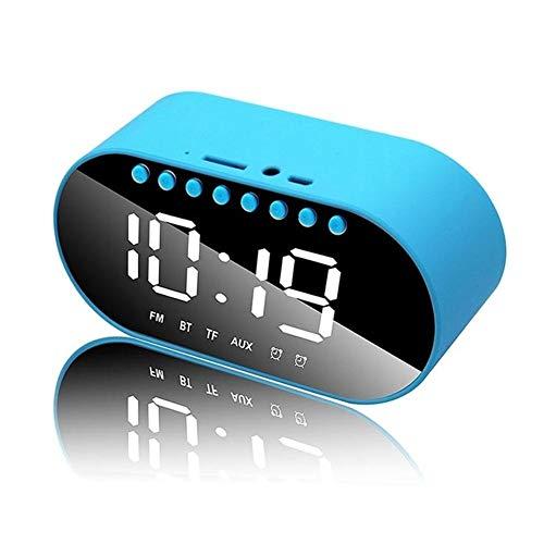 Hancoc Altavoz Azul Despertador inalámbrica Bluetooth subwoofer casa Mini Reproductor de Audio portátil
