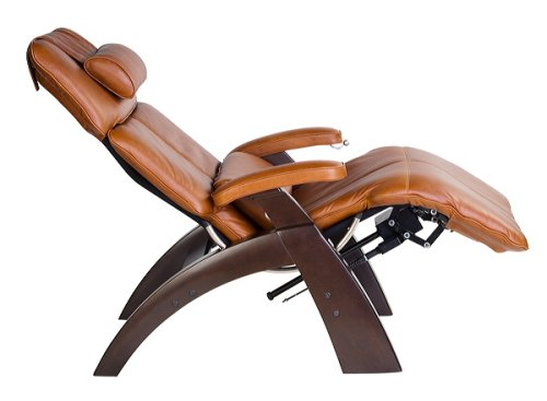 Human Touch PC-075 Power Electric Recline Perfect Zero Gravity Chair Recliner Dark Walnut Wood with Cognac Leather