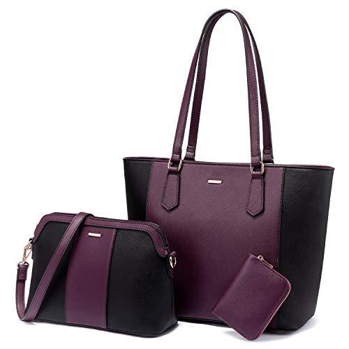 LOVEVOOK Purses and Handbags for Women Fashion Tote Bag Work Shoulder Bags Satchel Purse Set 3pcs