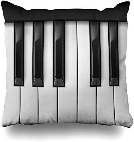 Mesllings Gooi Kussenhoezen Vierkante Octaaf Band Raster Piano Keys Cool Play Kleur Istic Zwart Ontwerp Opmerking Home Decor Kussensloop Kussensloop, 45X45Cm