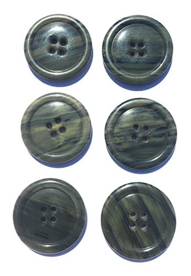 6 Kaki Green Horn Button Ligne 55-1-3/8