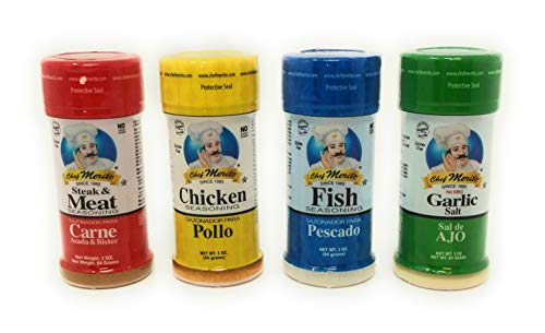 Chef Merito Mexican Seasoning Beef, Chicken, Fish, Garlic Salt Combo Pack 3 oz each. Great for dishes like Carne Asada, Chicken Fajitas, and Enchiladas, Grilled Meats, and Many More