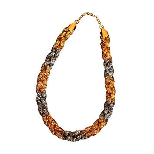 GemsOnClick Italian Genuine Link Chain Necklace Gold Plated Designer Handmade Fashion Jewellery for Women Girls Ladies MCA 14A 51