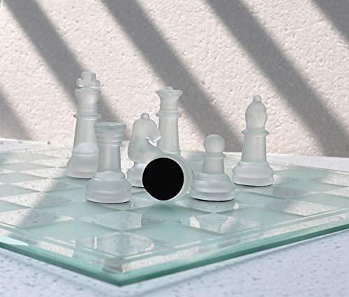 Ajedrez de Cristal/ 32 Piezas, Ajedrez Hecho A Mano, Juego De Mesa para Niños Y Adultos, Adecuado para Juegos Familiares, De Cristal 35cm