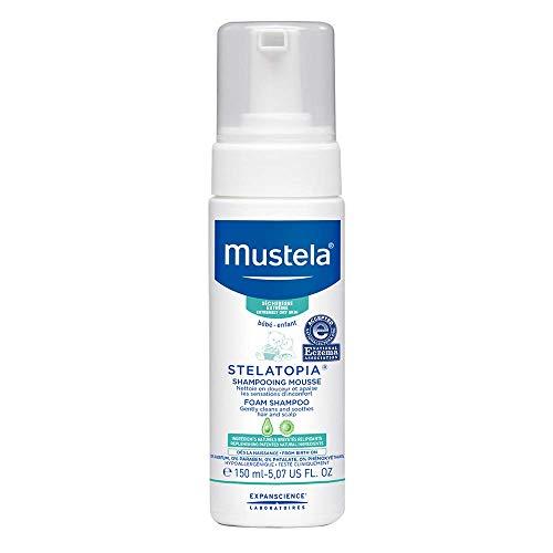 Mustela Stelatopia Foam Shampoo - For Newborn & Baby with Eczema-Prone Skin - with Natural Avocado & Sunflower Oil - Fragrance-Free & Tear Free - 5.07 fl. Oz