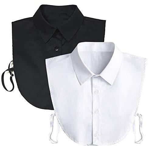 Fake Collar Detachable Dickey Collar Blouse Half Shirts Peter Pan Faux False Collar for Women & Girls Favors (White & Black)