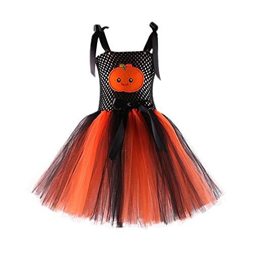 K-youth Vestidos Bebé Niña Fiesta Halloween Calabaza Vestido de Princesa Bautizo Cumpleaños Vestido Infantil Elegante Tutu Princesa Vestido para Bebé Niña(Naranja, 5-6 años)