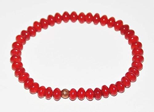 Coral rojo natural Forma de rondelle de 6 mm Pulsera elástica de 7 pulgadas con cuentas lisas para hombres / mujeres con cuentas de metal bañadas en cobre.
