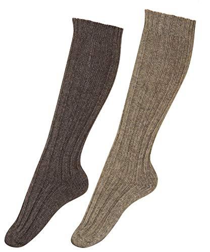 kb-Socken - 2 Paar Wollsocken Alpaka Socken Damen Herren kuschelweich bis Größe 50, (43-46, Kniestrümpfe 1xBraun/1xDunkelbraun dick)