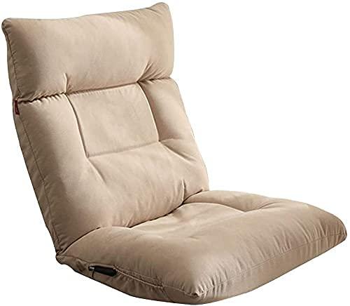 FGDSA Lazy Sofa Lounge Chair con Silla Plegable Acolchada para Juegos 42 Gears Respaldo Ajustable y cabecera Lazy Lounge Sofa Chair con látex Engrosado para Sala de Estar (Color: Brown-b)