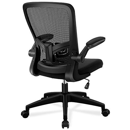 FelixKing 椅子 デスクチェア オフィスチェア パソコンチェア メッシュチェア 事務椅子 昇降機能付き 跳ね上げ式アームレスト 腰サポート 通気性 厚手 座面 360度回転 黒 black chair