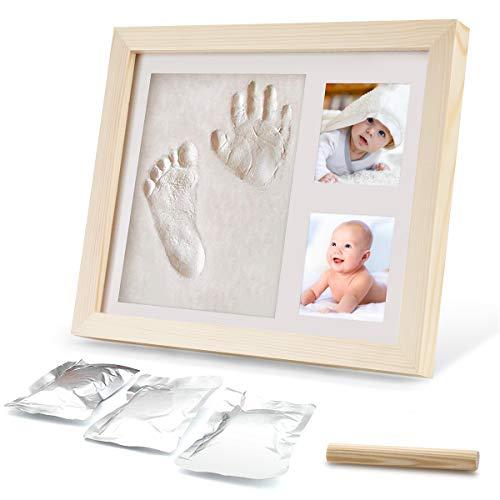 Ohiyoo Baby Handabdruck und Fußabdruck, Baby Holz Bilderrahmen mit Gipsabdruck Baby Drucke Fotorahmen für Neugeborene Baby Kinderzimmer Memory Art Kit Rahmen perfekte Baby Registry Geschenkbox.