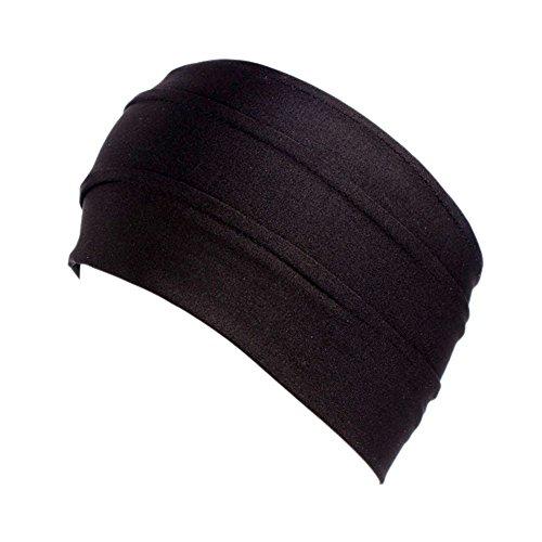 TININNA Femmes Bandeau de Yoga Doux Extensible Chapeau Serre-tête Ear Warmers Turban Head Wrap Headgear pour Les Sports,l'entraînement ou la Course Noir