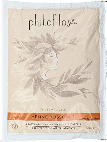 PHITOFILOS - Henne Egitto Lawsonia Inermis Rosso 2 - Rame - Ideale per Correggere i Capelli Bianchi - 100 gr