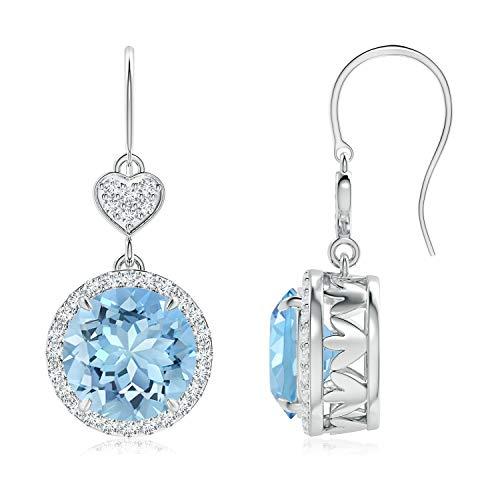 Orecchini pendenti con acquamarina a forma di cuore con diamante (9 mm acquamarina) e Oro bianco, cod. ANG-E-SE1043AQD_N-WG-AAAA-9