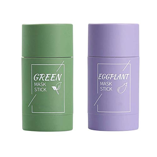 Green Tea Purifying Clay Stick Mask,Green Tea Face Peel Mask Blackhead Remover Acne Deep Cleansing,Oil Control Eggplant Solid Fine Improves Texture of The Skin (Green Tea+Eggplant, 2pcs)