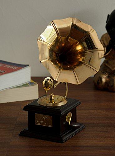 eCraftIndia Antique Music Decorative Canon Brass Showpiece (10 cm x 10 cm x 23.75 cm, Red and Brown)