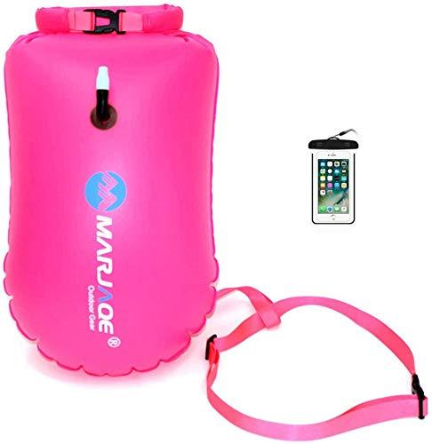 RNTCLAWCT burbuja de natación con bolsa seca + funda impermeable para teléfono para nadadores de agua abierta, boya de natación de seguridad inflable para nadadores, triatletas, snorkelers (B-rosa)