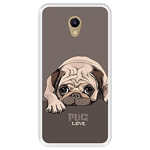 Hapdey Funda Transparente para [ Meizu M5 Note ] diseño [ Pug Puppy Reposo, Pug Love ] Carcasa Silicona Flexible TPU