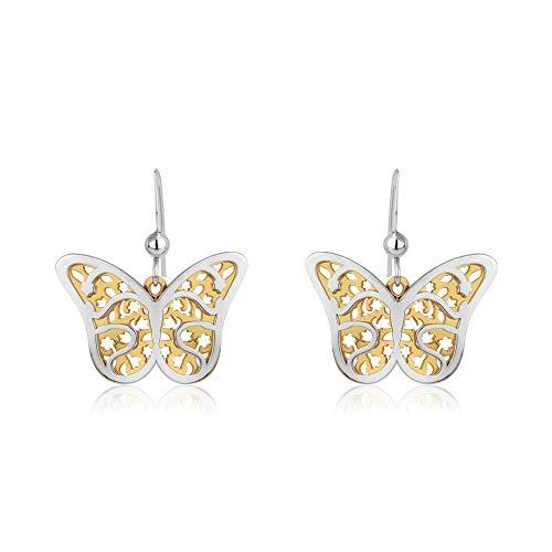 Vanbelle Boucles d'oreilles papillon pendantes en argent sterling à deux tons avec plaqué or jaune et rhodié pour femmes et filles