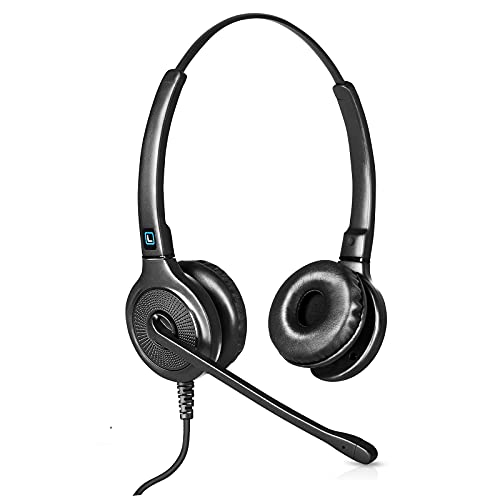 Leitner OfficeHero LH245 Dual-Ear Corded Office Telephone Headset with Cord - Works with 98% of Corded Office Phones – Also works with Plantronics M22 Amp and Headset Accessories