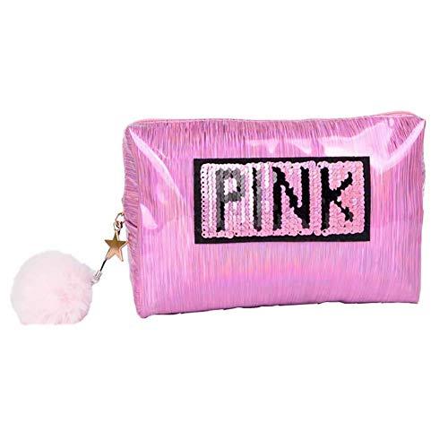 Drawihi Laser-Kosmetiktasche, helle Farbe, einfache tragbare Reise-Aufbewahrungstasche, wasserdicht, Clutch, Münzgeldbörse, Rosarot, rose (Pink) - QIKL4UQU6A