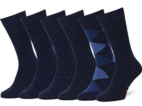 Easton Marlowe 6 Paar Gemusterte Baumwolle Herren Socken - 6pk 4-4, dunkle Marine Blau - 43-46 EU Schuhgröße