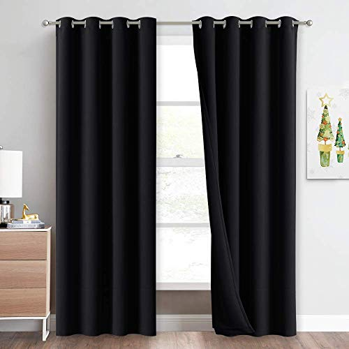 NICETOWN Sound Blocking and Heavy-Duty Space Divider Curtains for Living Room, Lined Insert Noise - Blackout - Thermal Insulation Curtains for Room Divider / Space Solutions (Black, 84 inches Long)