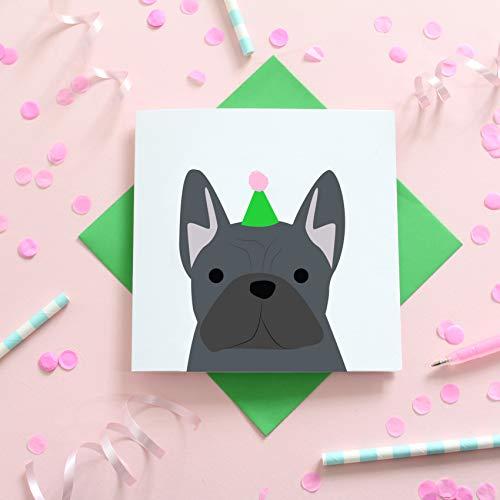 Blauwe Franse Bulldog Verjaardagskaart door Heather Alstead