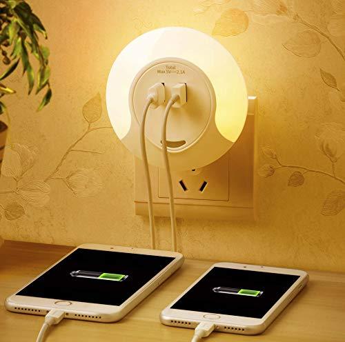 Schwappendes Nachtlicht mit Dämmerungssensor und USB-Ladegerät mit 2 Anschlüssen, 3 Auto / Ein / Aus-Modi, Nachttischlampe, Schlafzimmer