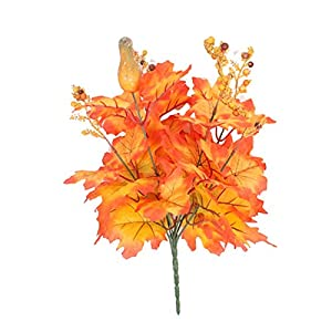 Osierr6 Artificial Maple Leaf Silk Plastic Iron Wire Shrubs Decoration Fall Autumn Faux Fake Plant Indoor Outdoor Home Kitchen Living Room Dining Table Festival Centerpieces Christmas