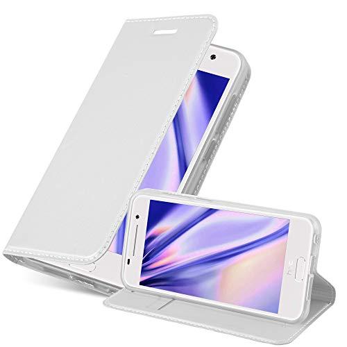 Cadorabo Hülle für HTC ONE A9 - Hülle in Silber – Handyhülle mit Standfunktion und Kartenfach im Metallic Look - Case Cover Schutzhülle Etui Tasche Book Klapp Style
