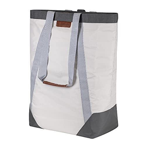 CleverMade Backpack Laundry Bag Tote with Comfortable Shoulder Straps - Extra Large Capacity Polyester Clothes Hamper with Premium Handles and an Inner Zipper Storage Pocket for Valuables, Cream