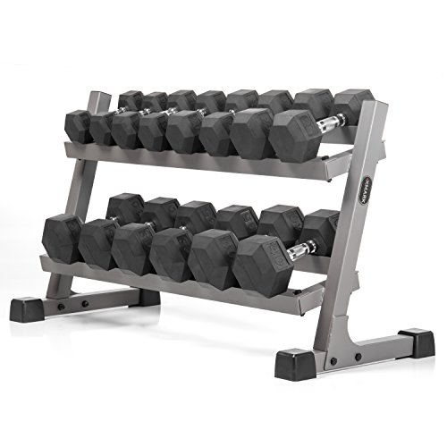 XMark's Two Tier Heavy Duty Steel Dumbbell Rack with Angled Shelves Fully Loaded with 350 lbs. of XMark's Superior Rubber Coated Hex Dumbbells