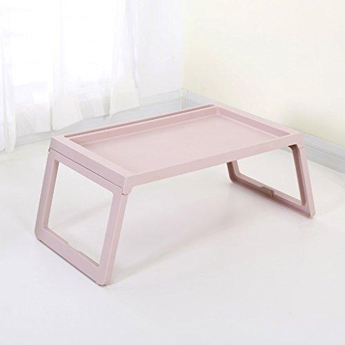 Ordinateur portable Bureau Lit Pliant Paresseux Étudiant Dortoir Bureau Écriture Petite Table En Plastique Simple Simple (Color : Beige)