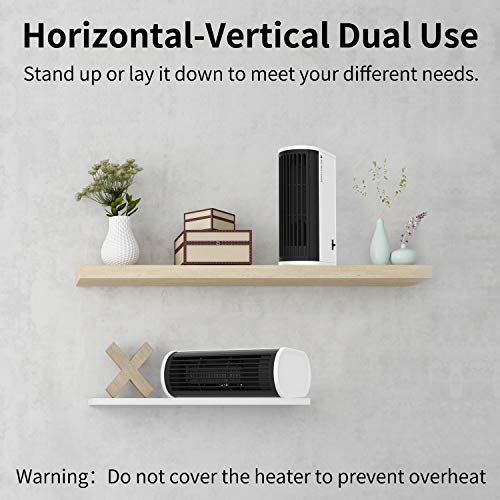 Mini Desk Space Heater, Portable Electric Fan Heater, Horizontal-Vertical Dual-Use Personal Air Heater with Over-heat Protection and Oscillation for Office and Home