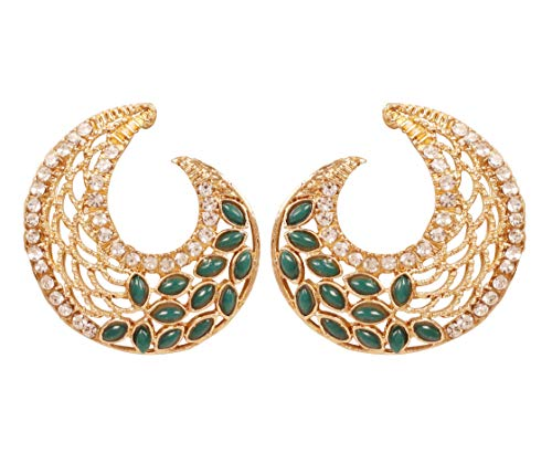 Touchstone Pendientes de diseño artístico de Bollywood de la India en tono dorado plateado para mujeres. verde