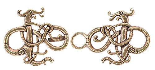 Windalf Vintage Vikings Gewandschließe ASKAN 3.8 cm Drachen Wikinger Urnesstil Historischer Schmuck Mantelschließe Hochwertige Bronze